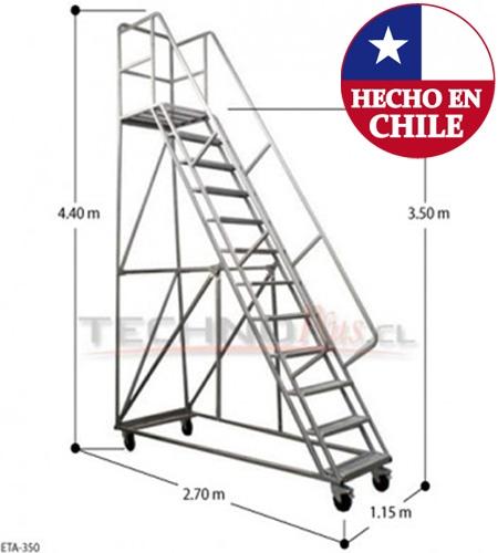 Escalera tipo avion acero 3 5 m technoplus for Escalera de 5 metros