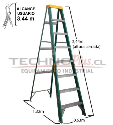 Escalera tijera fibra de vidrio metros cuprum for Escalera telescopica tipo tijera