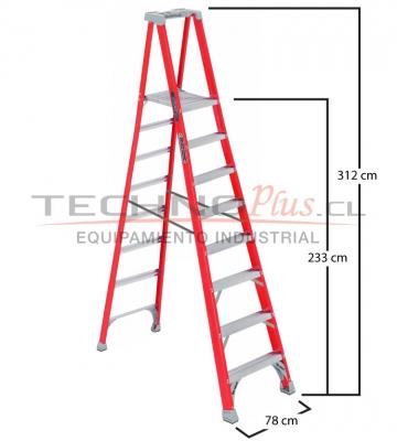 Escalera tijera plataforma 8 peldanos technoplus for Escaleras 8 peldanos
