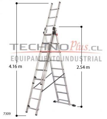 Escalera de aluminio tijera con extension m technoplus for Escaleras 4 metros