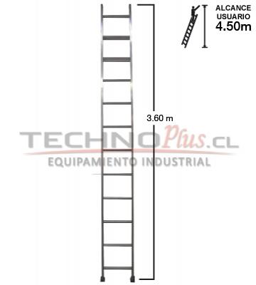 Escalera de aluminio recta m 12 p technoplus for Escalera de aluminio de 3 metros