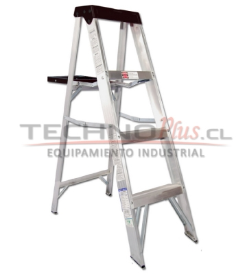 Escalera tijera aluminio 4 pelda os technoplus for Precios de escaleras de tijera de aluminio