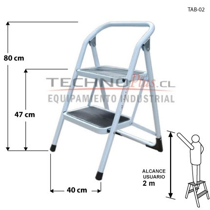 Taburete metalico 2 pelda os technoplus for Taburete escalera plegable plastico
