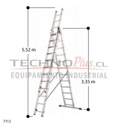 Escalera de aluminio tijera con extension m technoplus for Precio escalera aluminio