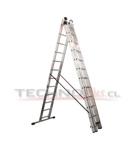 Escalera de aluminio tijera con extension m technoplus - Escaleras telescopicas precios ...