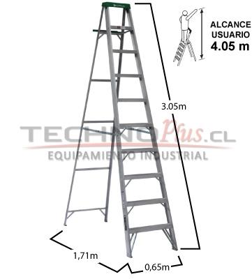 Escalera de aluminio tijera m technoplus for Precios de escaleras de tijera de aluminio