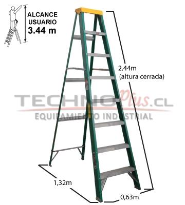 escalera tijera fibra de vidrio metros cuprum