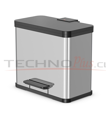 BASURERO RECICLAJE TRIPLE RECIPIENTE ACERO INOX. 33LT