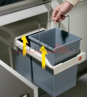 Basurero mueble cocina doble recipiente 30 lts blanco - Mueble cocina blanco ...