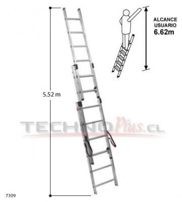 ESCALERA DE ALUMINIO TIJERA CON EXTENSION 5.52 m.