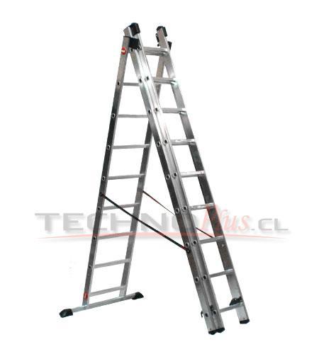 escalera de aluminio tijera con extension m technoplus