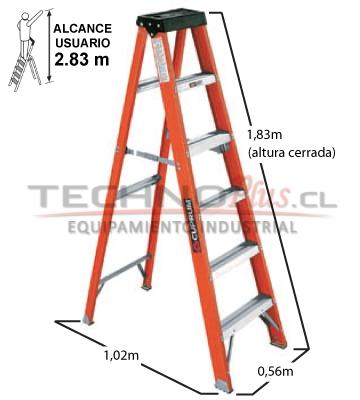 Escalera tijera fibra de vidrio 1 83m 6p technoplus for Escaleras 10 peldanos de tijera