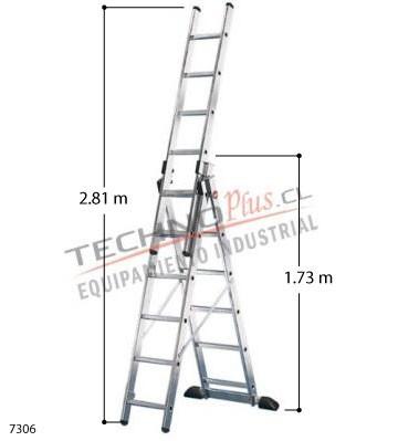 Escalera de aluminio tijera con extension m technoplus for Escalera telescopica 2 metros