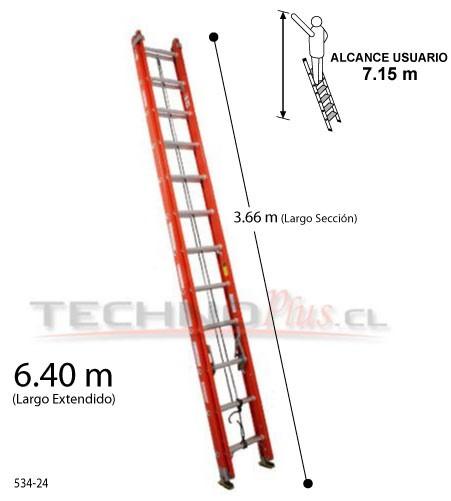 Escalera telescopica de fibra de vidrio serie 534 technoplus for Escalera 8 metros
