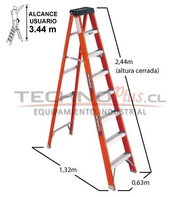 Escalera tijera fibra de vidrio 2 44 metros technoplus for Escalera 8 metros