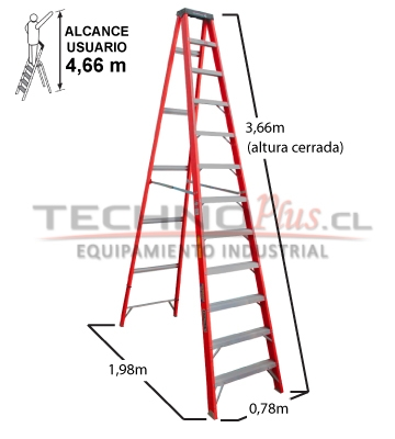 ESCALERA TIJERA FIBRA DE VIDRIO 3.66 M.