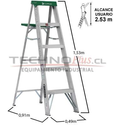 Escalera de aluminio tijera m technoplus for Escaleras 4 metros