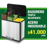 BASURERO ACERO INOXIDABLE DOBLE RECIPIENTE MARCA HAILO-GERMANY