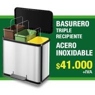 BASURERO ACERO INOXIDABLE DOBLE RECIPIENTE MARCA HAILO-GERMANY