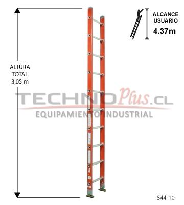 Escalera Recta Fibra de Vidrio 10 P
