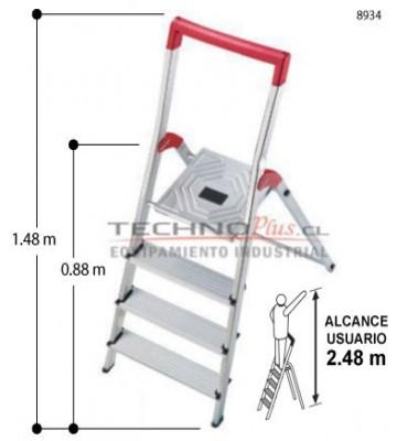 Escalera tijera aluminio plataforma 4 pelda os technoplus for Escalera telescopica tipo tijera