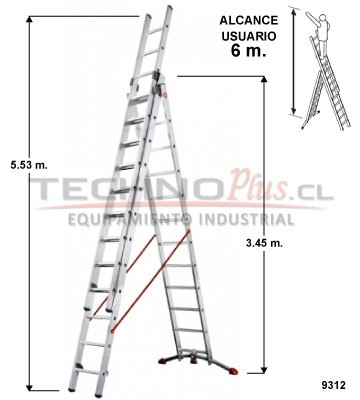 Escalera de aluminio tijera con extension m technoplus for Escalera plegable homecenter