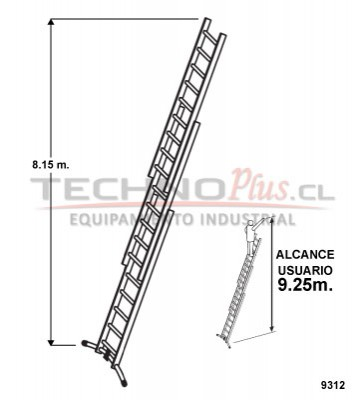 Escalera de aluminio tijera con extension m technoplus for Precio de escalera telescopica