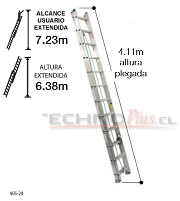 Escalera de aluminio telescopica 6 38 m 24p technoplus for Escalera telescopica aluminio